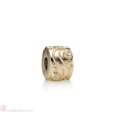 Prezzi gifts Pandora Clips Charms Babbling Ruscello Abstract Gold Clip Diamonds